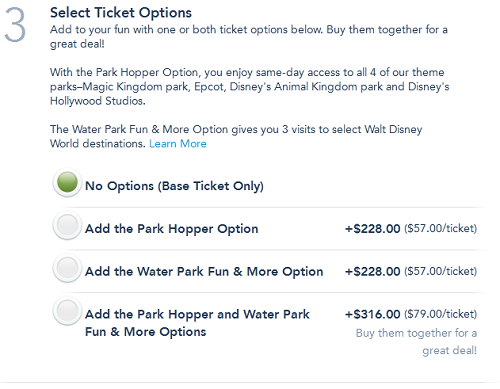 WDW Ticket Options